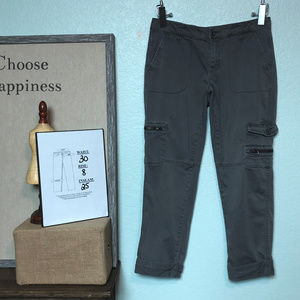 "Garnet Hill Gray Cargo Crop Capri Pants 25"" Inseam"